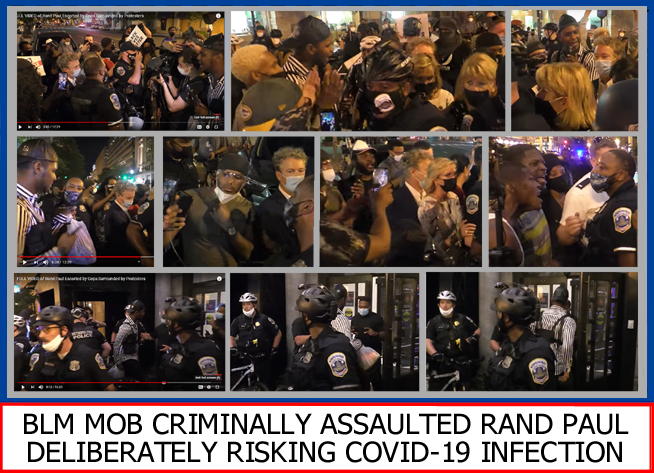 Gallery of out-takes from video of BLM mob attacking Rand Paul leaving RNC August 28, 2020