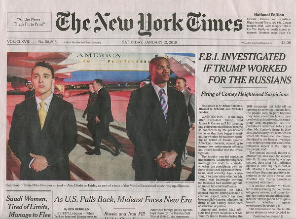 NY Times 1-12-2019 headline - FBI Trump-Russia Probe