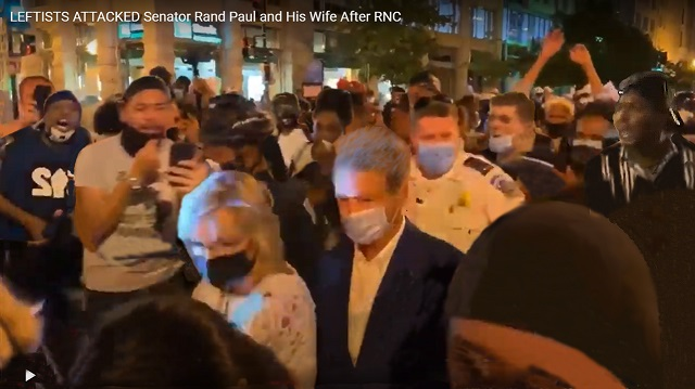 Rand Paul and his wife were attacked leaving the RNC by a BLM-inspired mob - many unmasked, yelling threats in their faces