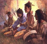 Four Sacred Drummers by Howard Terpning