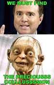 Schiff Gollum meme reading false quotes into the House Hearings